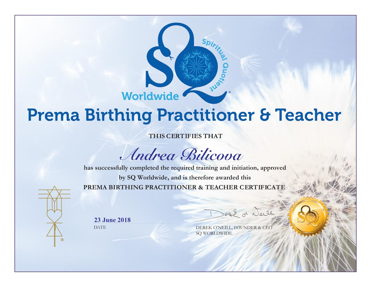 Certifikát Prema Birthing Andrea Biličová