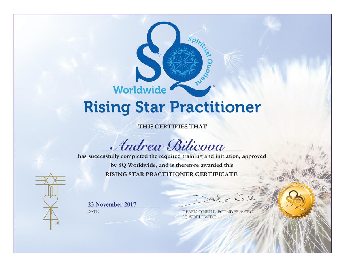 Certifikát Rising Star Andrea Biličová